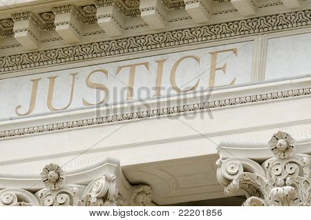 justice word engraved
