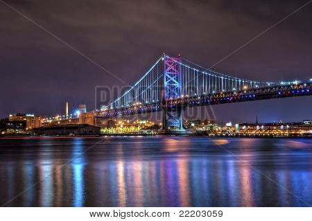 Benjamin Franklin Bridge à noite