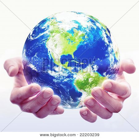 Holding World Globe White