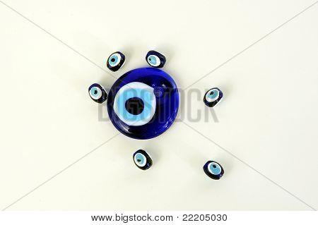 blue beads against the evil eye