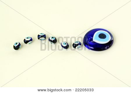 blue beads against the evil eye