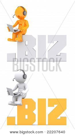 3D Character Sitting On .biz Domain Sign