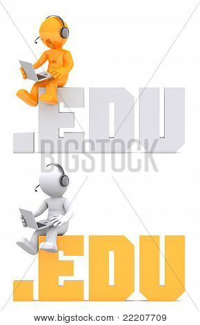 3D Character Sitting On .edu Domain Sign.