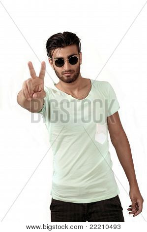 Peace sign - trendy man
