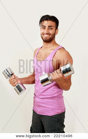 Smiling gym trainer