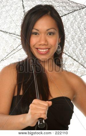 Sassy Girl Under Umbrella