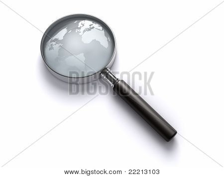 Magnifying Glass With World Map.