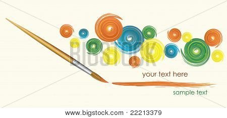 Wood brush and paints, vector illustration