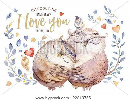 poster of I love you. Lovely watercolor illustration with sweet owls, hearts and flowers in awesome colors. Stunning romantic valentines day card made in watercolor technique. Bright Valentines isolated design with love.