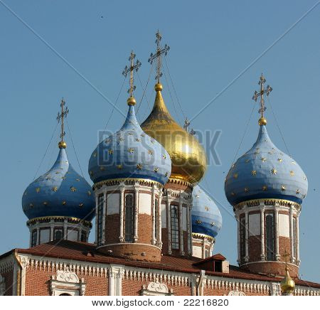 Domes Of The Uspenskiy Cathedral Of The Ryazan Kremlin