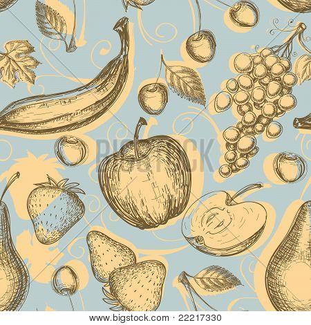 Vintage fruits seamless pattern