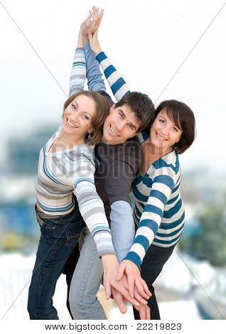 three friends having fun
