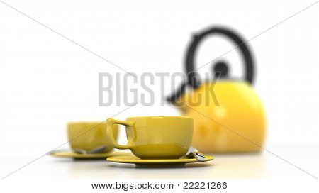 Yellow Coffee Cups and Kettle
