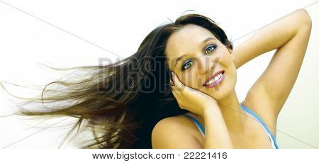 Portrait of a girl with flying hair (high color). keyword for more pictures is johanna7