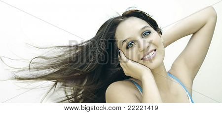 Portrait of a girl with flying hair (low color).keyword for more pictures is johanna7