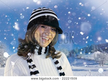 Happy girl standing in snowy landscape. keyword for this collection is: snowmakers77