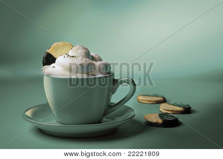 cappuchino or hot chocolate in blue