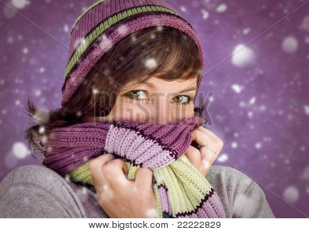girl with many snowflakes