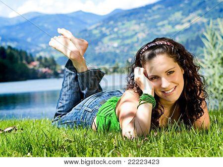 beautiful girl enjoying the summer