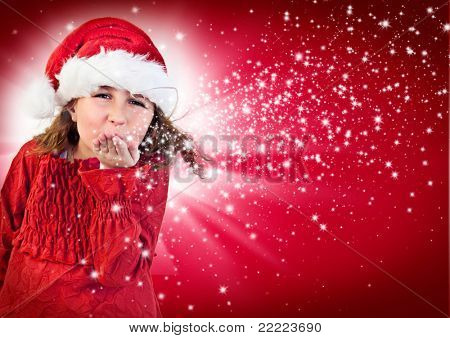 cute joyful girl with santa-clothes