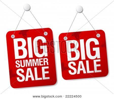 Big summer sale signs set.