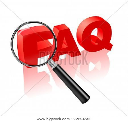 FAQ button or icon search answers to your questions, frequently asked questions in red text and magnifyi ng glass.