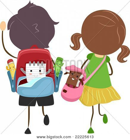 Illustration of School Bags with Animated Items