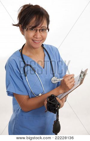 Attractive Asian Filipino Nurse Doctor Healthcare Worker