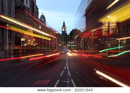 City Of Westminster London Street Lights At Dawn