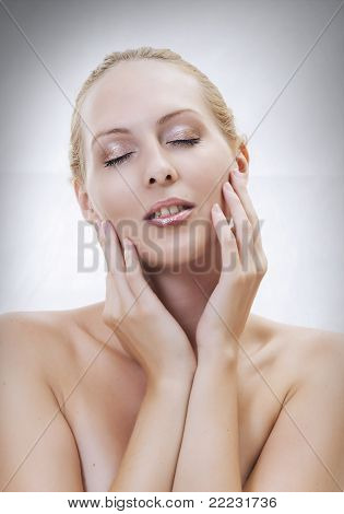 Beautiful Sexual Woman Face Close-up