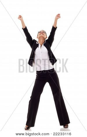 Businesswoman With Her Arms Raised