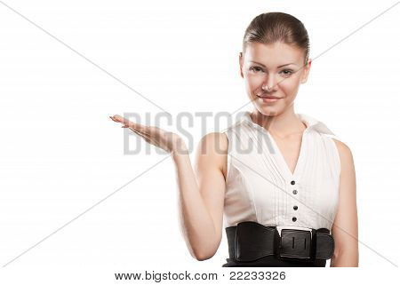 Smiling business woman presenting
