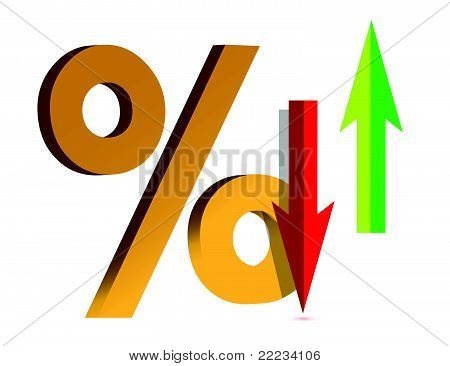 Illustration showing a Rise and Fall in Interest with symbol percent