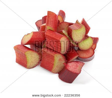 Cut Rhubarb On White Background