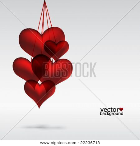 Copula red hearts. Abstact background.