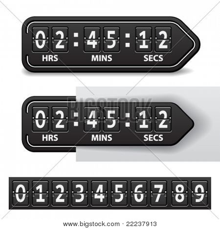 vector countdown black mechanical timer