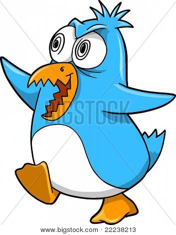 Crazy Insane Penguin Vector Illustration