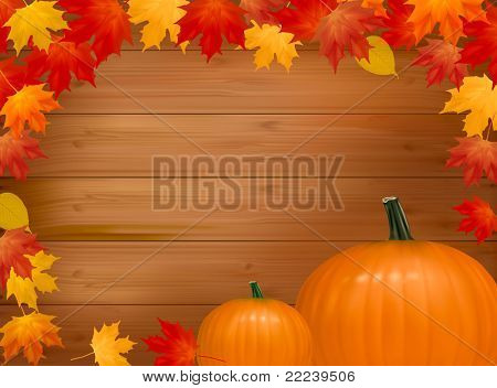 Autumn background with pumpkins. With copy space. Vector illustration.
