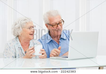Happy smiling retired couple using computer laptop at home