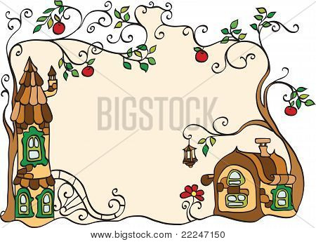 Decorative Frame With Houses And Trees