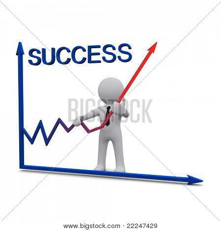 3D man standing near success graph and holding up red arrow