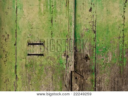 Grungy Green Door