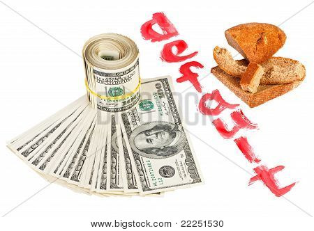 Default Of Usa Dollar Currency Concept Photo With Bread Crust On White