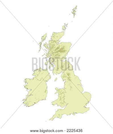 Detailed Relief Map Of United Kingdom
