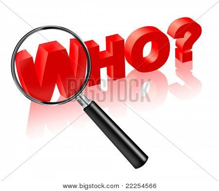 who which person suspect search button 3D text. Search answer on question in red.