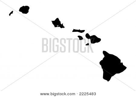 Isolated Black And White Map Of Hawaii
