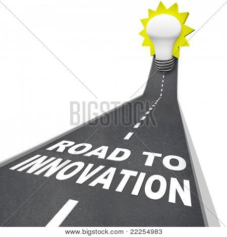The words Road to Innovation on a pavement road leading upward to a light bulb representing imagination, creativity and idea generation in problem solving and success in reaching a goal