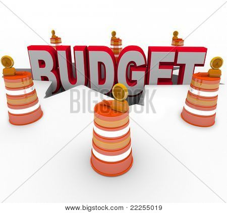 The word budget falling into a deep chasm symbolizing a debt or defecit and construction barrels surrounding it to warn of a recession or bad economy causing financial problems for all