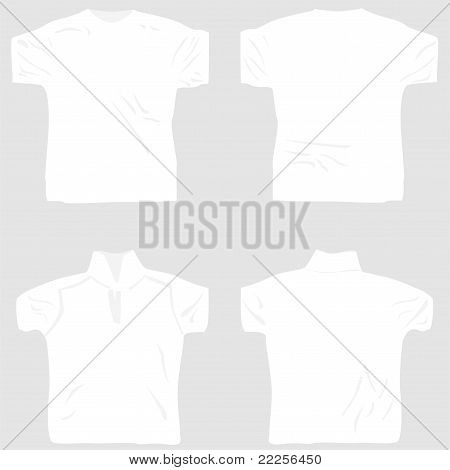 T-shirt polo and shirt design template set front and back view