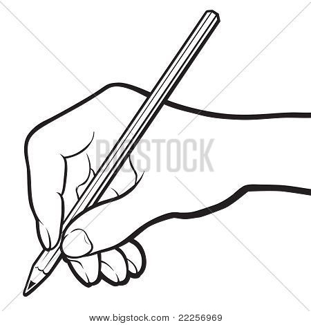 Hand With Pencil. Black And White.